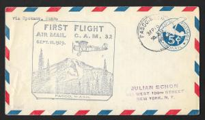 UNITED STATES First Flight Cover 1929 Pasco to Spokane