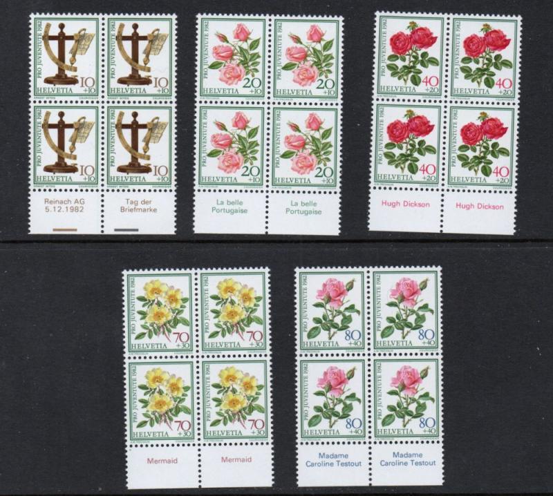 Switzerland Sc B492-6 1982 Roses Pro Juventute stamp set mint NH Blocks of 4