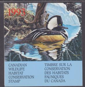 Canada Uni FWH9 MNH. 1993 $8.50 Hooded Merganser in Original Folder