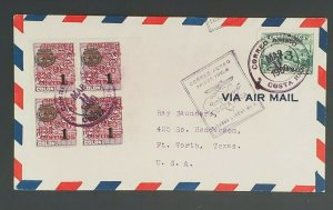 1930 Costa Rica to Ft Worth Texas First Flight San Jose to Miami Air Mail Cover