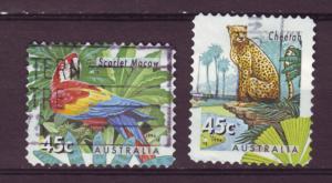 J12964 JLstamps 1994 australia used set #1390-91 perfs wildlife
