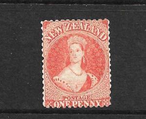 NEW ZEALAND 1864-67 1d ORANGE VERMILLION  FFQ MNG P12 1/2 CP A1M3  SG 111 CHALON