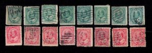 Canada Sc 89-90 Used (Lot Of Sixteen) Edward VII F-VF