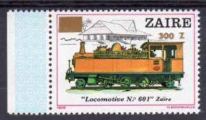 Zaire 1990 Sc#1325 Locomotive #601 ovpt.in Gold new value (1) MNH RARE !!!