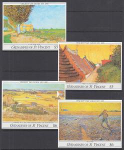 St. Vincent Grenadines Sc 765-768 MNH. 1991 Van Gogh Paintings Souv Sheets cplt