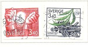 Sweden Sc  1612-3 1986 Amesty Intl Peace Yr stamp set used