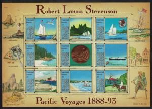 Marshall Is. Centenary Of R L Stevenson's Pacific Voyages Sheetlet of 9v