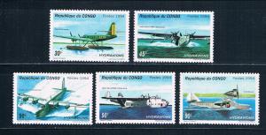 Congo Peoples Republic 1067-71 MNH set Sea Planes 1994 (C0267)