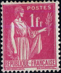 FRANCE - 1937 - Yv.369/Mi.369 1fr rose Type Paix - Neuf*