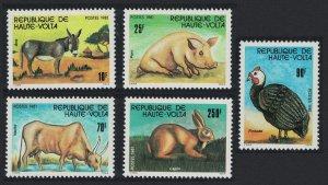 Upper Volta Guineafowl Bird Rabbit Pig Donkey Stock Breeding 5v 1981 MNH