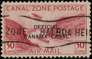 CANAL ZONE #CO5 1942 OFFICIAL CANAL ZONE OVERPRINT ON 30c AIR MAIL ISSUE-USED