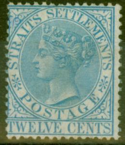 Straits Settlements 1867 12c Blue SG15 Fine Lightly Mtd Mint
