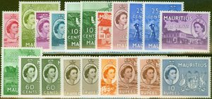 Mauritius 1953-58 Extended set of 20 SG293-306 All Shades V.F Very Lightly Mtd M