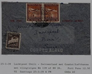 Chile/Switzerland airmail cover 25.1.39