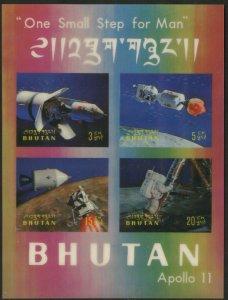 BHUTAN Sc#108m & 108n 1969 Apollo 11 3-D Postage Souvenir Sheets Mint NH