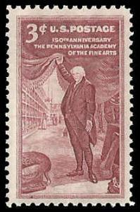 PCBstamps     US #1064 3c Pennsylvania Academy of Arts, MNH, (40)