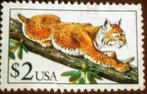 USA 2482 – 1990 $2 Bobcat MNH XF cv $7.95