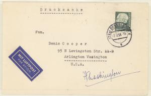 Germany #755 tied to VF printed matter cover to US