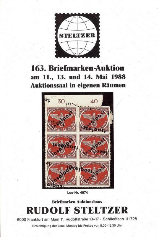 Steltzer: Sale # 163  -  163. Briefmarken-Auktion, Steltz...