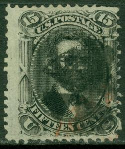 EDW1949SELL : USA 1868 Sc #98 Used. Red & Black cancels. Nice stamp. Cat $275++