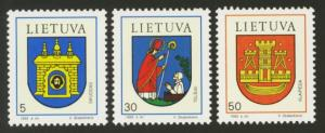 Lithuania Sc# 454-6 MNH Coat of Arms