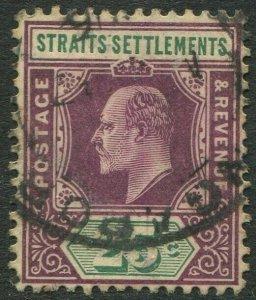 STRAITS SETTLEMENTS-1905 25c Dull Purple & Green Sg 133 GOOD USED V50190