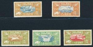ICELAND 1930 AIR SET, VF NEVER HINGED Sc#C4-8 CAT$600 (SEE BELOW)