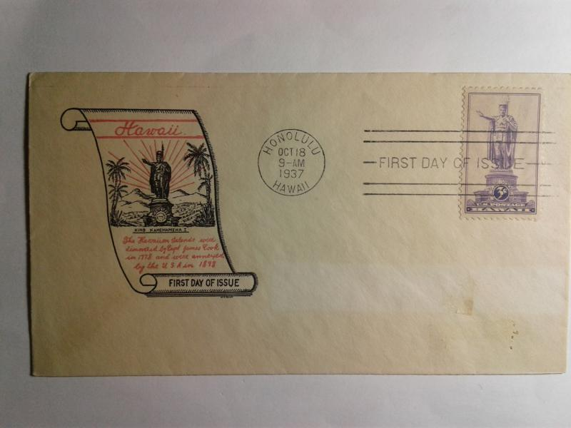 SCOTT # 799 FIRST DAY OF  ISSUE HONOLULU HAWAII 1937