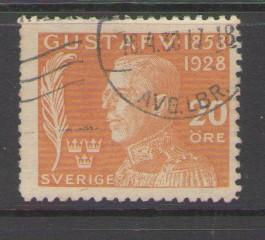 Sweden Sc B35 1928  20 ore 70th Birthday Gustaf V stamp used