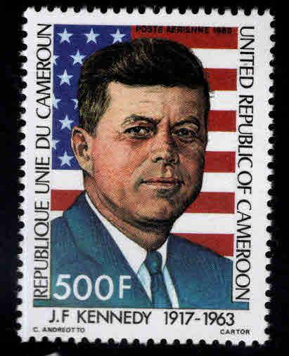 Cameroun Scott C302 MNH* 1983 JFK, US flag stamp nice design
