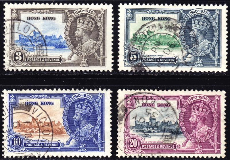 Hong Kong Scott 147-150  complete set  F to VF used.