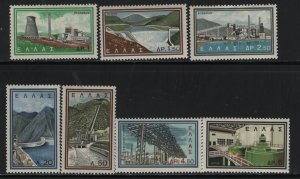 GREECE, 728-734, SET(7), HINGED,SLIGHT THIN ON 732, 1962,PTOLEMAIS POWER STATION