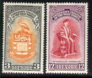 Leeward Islands 1951 KGV1 Set Inauguration BWI College Umm SG 123 - 124 ( G159 )