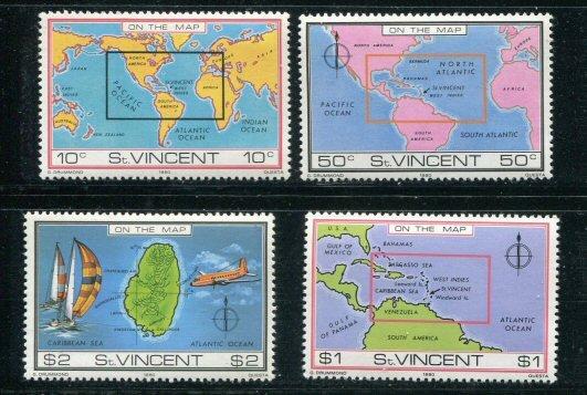 St. Vincent MNH 611-4 Map Of St. Vincent