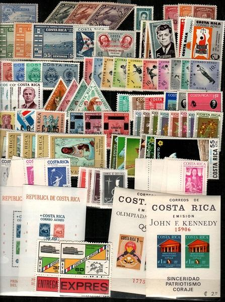 Costa Rica - Mint NH sets (mostly Airmails with few BOB) - CV $99.70