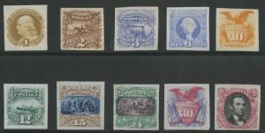 #112P3-117P3; #119P3-122P3 PLATE PROOFS ON INDIA PAPER SET OF 10 CV $855 HV9766