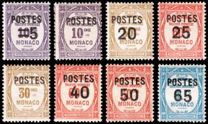 Monaco Scott 131-132, 134-139 (1937) Mint H F-VF, CV $13.95