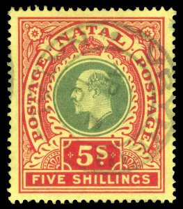 Natal 1908 KEVII 5s green & red/yellow very fine used. SG 169. Sc 114.