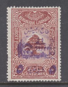 Lebanon Sc RA1 MLH. 1945 Postal Tax, 5pi on 30c red brown Fiscal surcharged