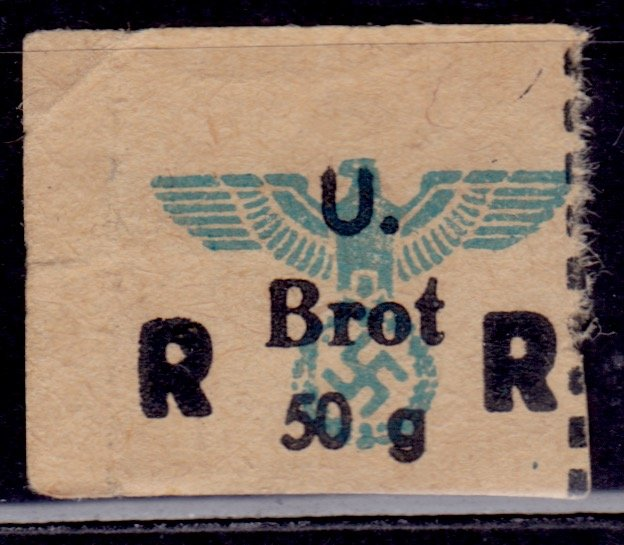 Germany, Third Reich, WWII, Food Ration Coupon, 50g Brot/Bread