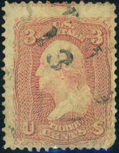 U.S. #64b Used with Weiss Cert Cat$150+