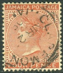 JAMAICA-1908 4d Red-Brown.  A fine used example Sg 48