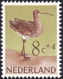 Netherlands # B355 mnh ~ 8¢ + 4¢ Bird - Curlew