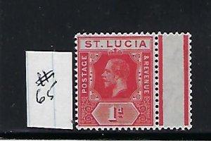 ST. LUCIA SCOTT #65 1912-19 GEORGE V 1D (SCARLET) WMK 3- MINT NEVER HINGED
