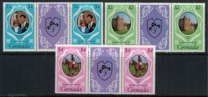 Grenada #1051-3* NH Gutter pairs  CV $1.90 Charles & Diana royal wedding