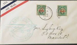Philippines 1933 First Flight Iloilo Manila Cover