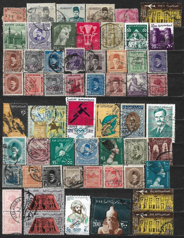 COLLECTION LOT OF 58 EGYPT 1879+ STAMPS