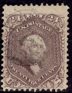 US Stamp #70 24c Red Lilac USED SCV $300