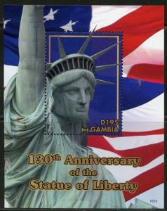GAMBIA   2017 130th ANNIVERSARY OF THE STATUE OF LIBERTY SOUVENIR SHEET MINT