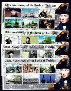 Solomon is 992-95 MNH 2005 Battle of Trafalgar Anniv 4 sheets of 6